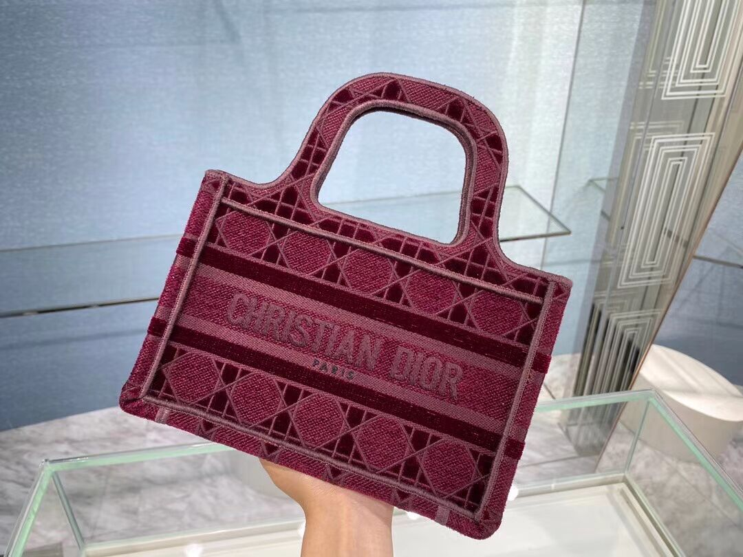 MINI DIOR BOOK TOTE Burgundy Cannage Embroidered Velvet S5475Z