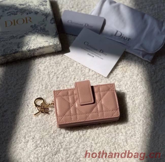 LADY DIOR 5-GUSSET CARD HOLDER Rose Des Vents Patent Cannage Calfskin S0074OV