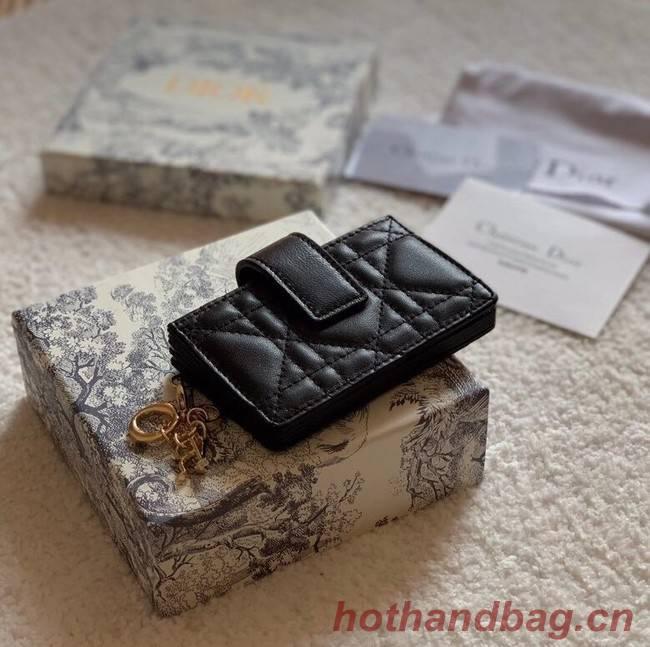 LADY DIOR 5-GUSSET CARD HOLDER Vents Patent Cannage Calfskin S0074OV black