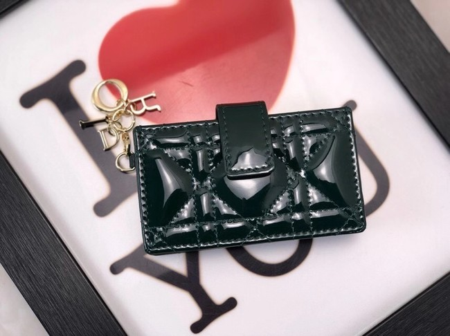 LADY DIOR 5-GUSSET CARD HOLDER Vents Patent Cannage Calfskin S0074OV blackish green