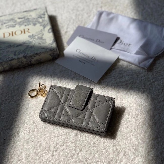 LADY DIOR 5-GUSSET CARD HOLDER Vents Patent Cannage Calfskin S0074OV gray