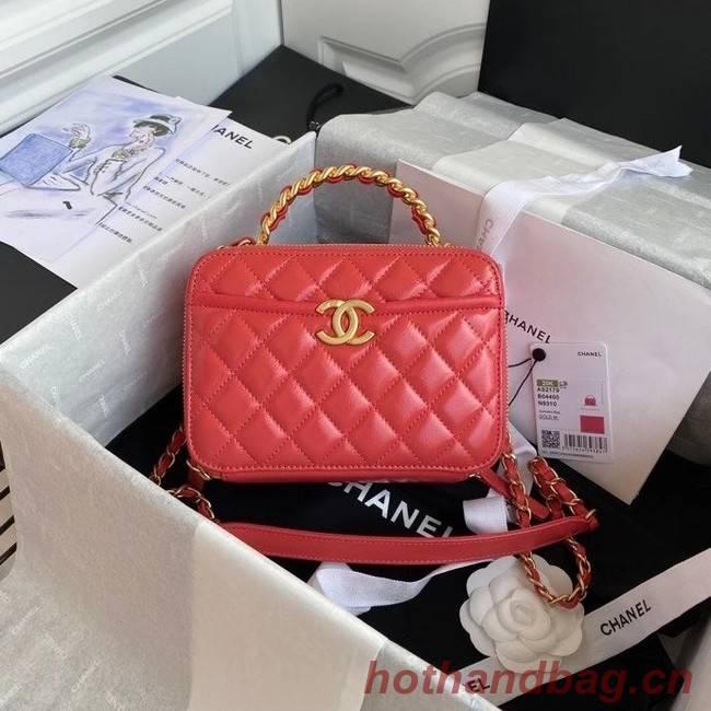 Chanel vanity case Lambskin, Shiny Crumpled Calfskin & Gold-Tone Metal AS2179 Pink