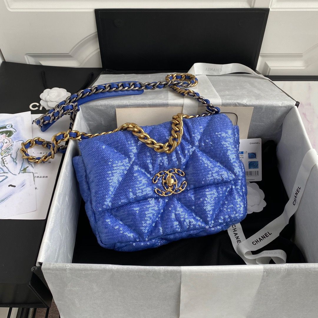 Chanel 19 Flap Bag Original Beads Leather AS1160 Blue