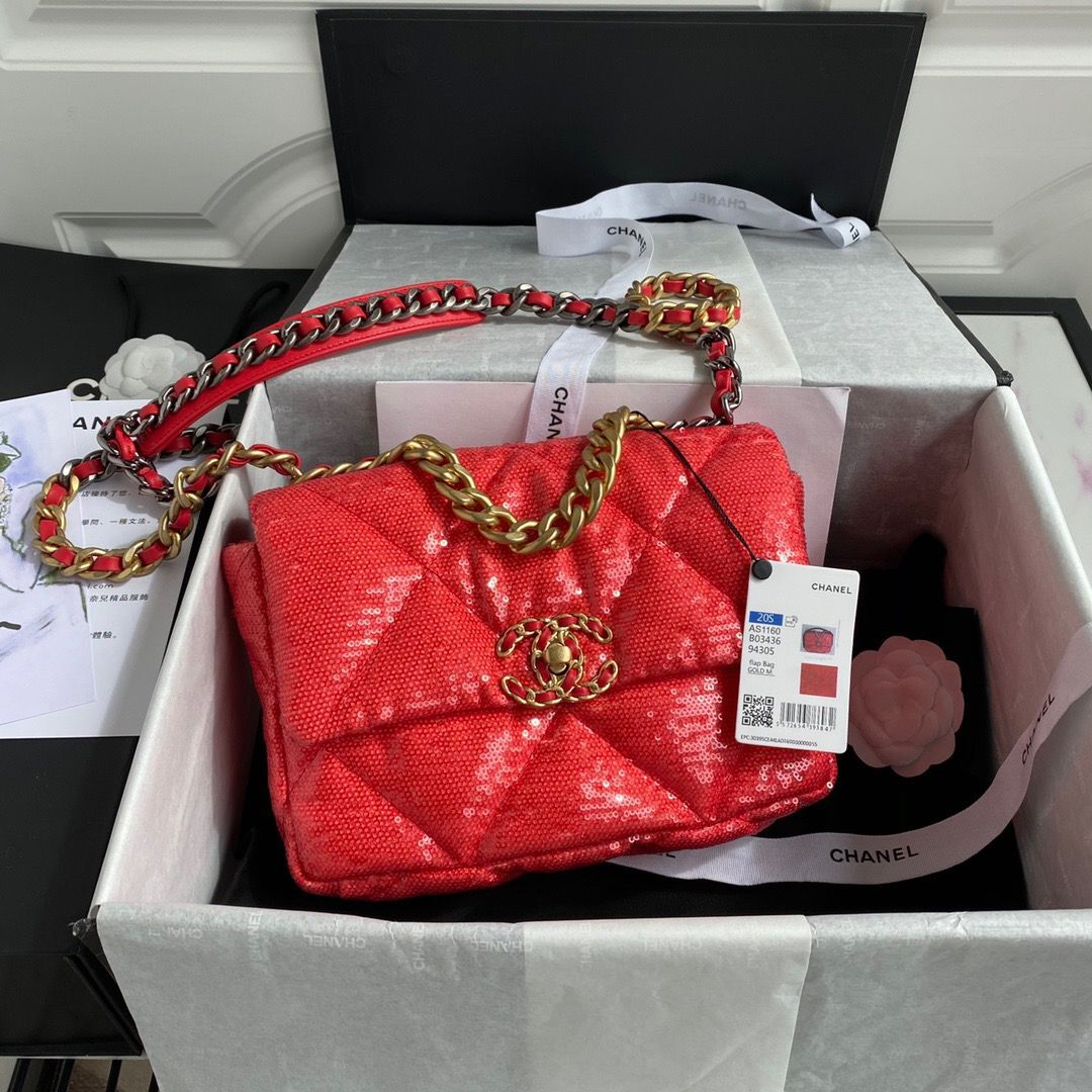 Chanel 19 Flap Bag Original Beads Leather AS1160 Red