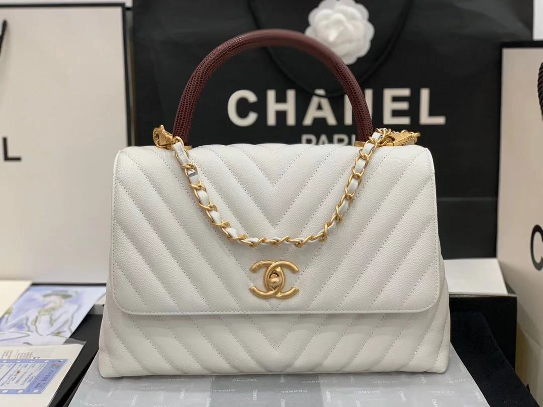 Chanel flap bag with red top handle V92991 white
