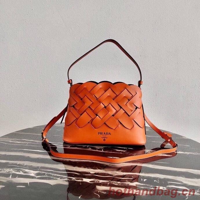 Prada Leather Prada Tress Handbag 1BA290 orange