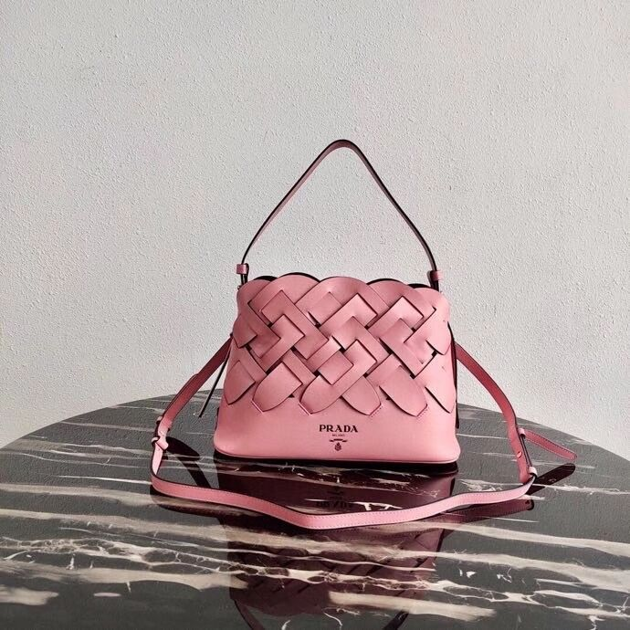 Prada Leather Prada Tress Handbag 1BA290 pink