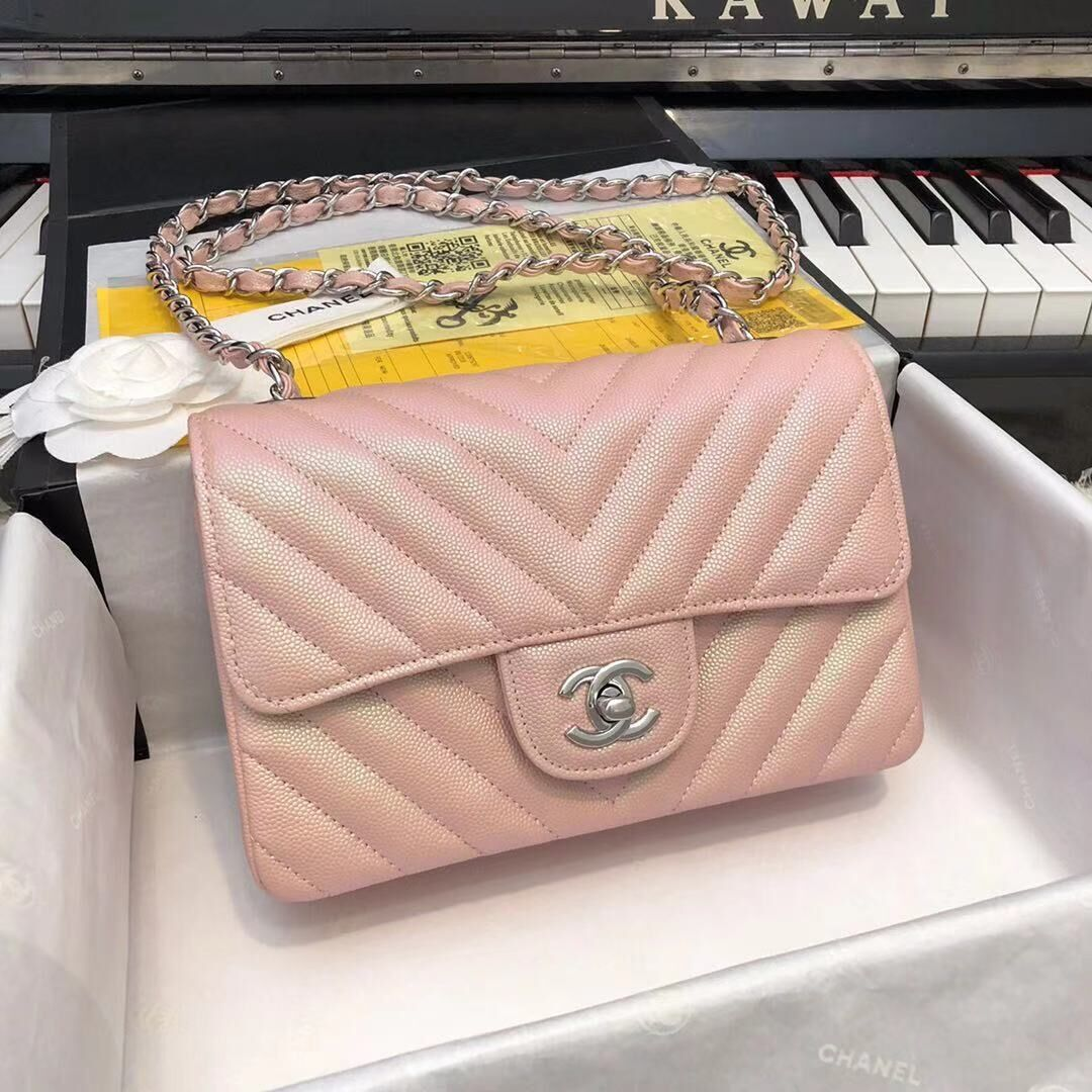 Chanel 2.55 Series Flap Bag Leather Rose gold A1116CF Silver