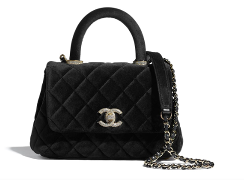 Chanel mini flap bag with top handle AS2215 black