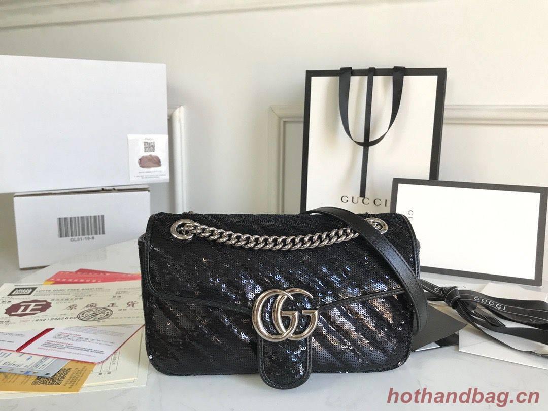 Gucci GG Marmont Sequin Mormont Small Shoulder bag 443497 Black