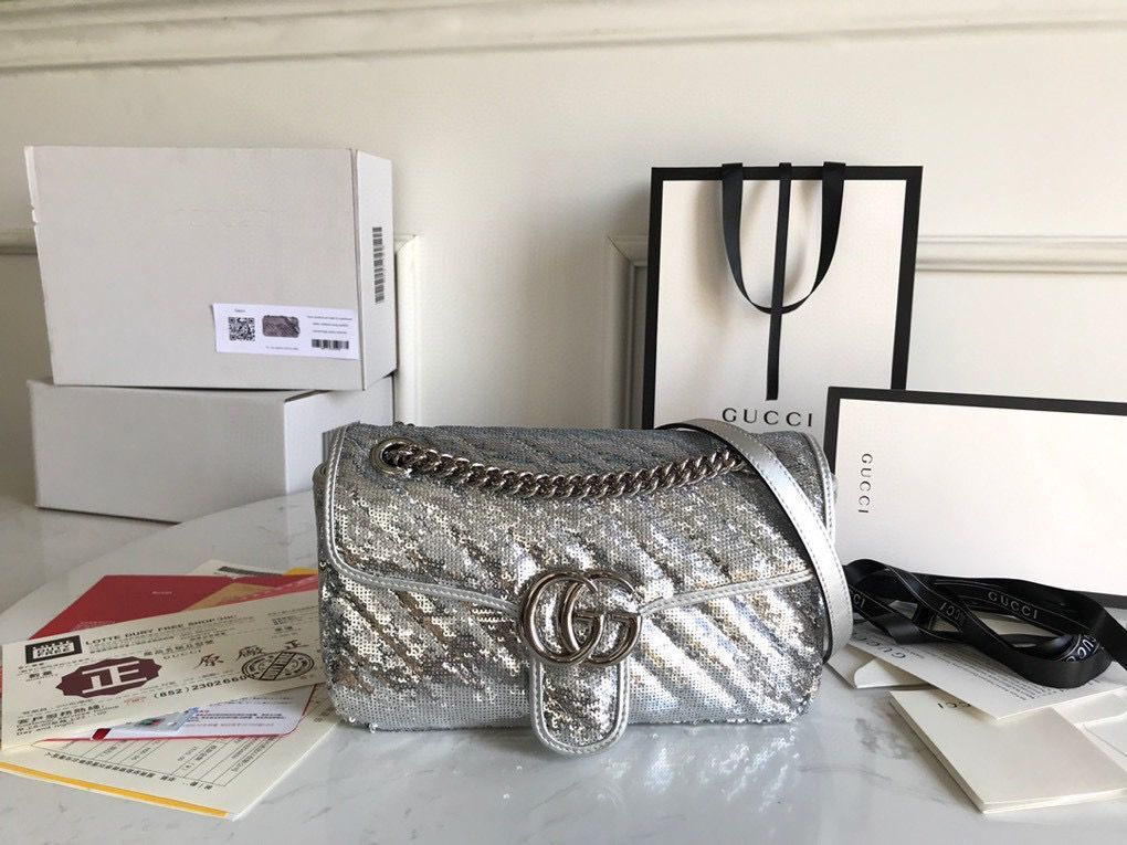 Gucci GG Marmont Sequin Mormont Small Shoulder bag 443497 Silver