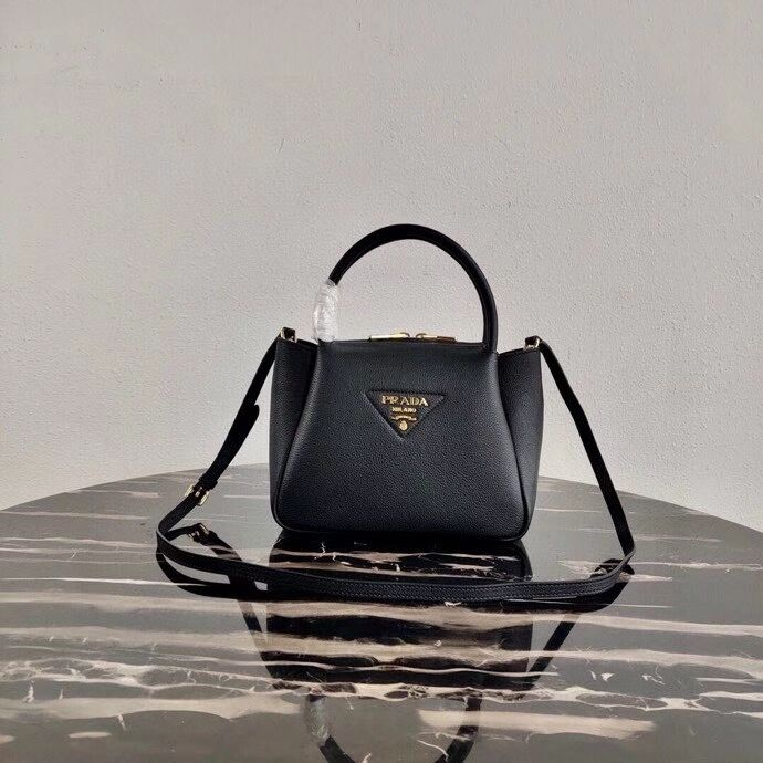 Prada Deer skin bag tote 1BC145 black