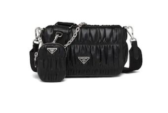 Prada Gaufre nappa leather shoulder bag 1BD289 black