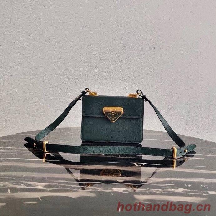 Prada Saffiano leather Prada Symbole bag 1BD270 blackish green