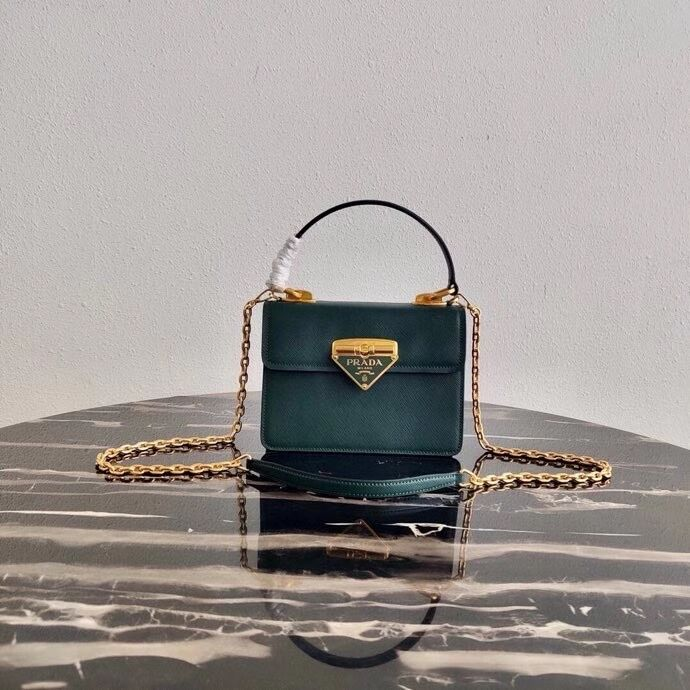 Prada Saffiano leather Prada Symbole bag 1BN021 blackish green
