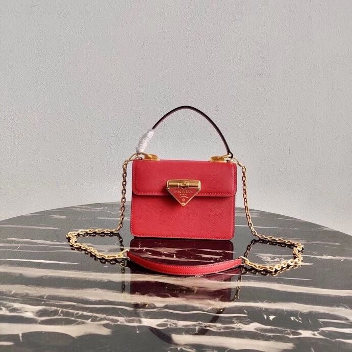 Prada Saffiano leather Prada Symbole bag 1BN021 red