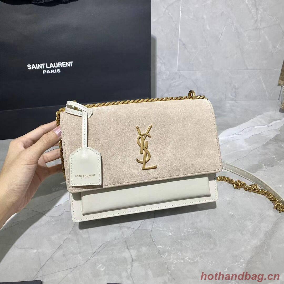 Yves Saint Laurent Calfskin Leather Shoulder Bag Y422906L white