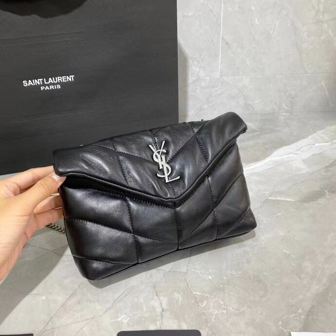 Yves Saint Laurent LOULOU PUFFER IN QUILTED CRINKLED MATTE LEATHER BAG Y620333 Black