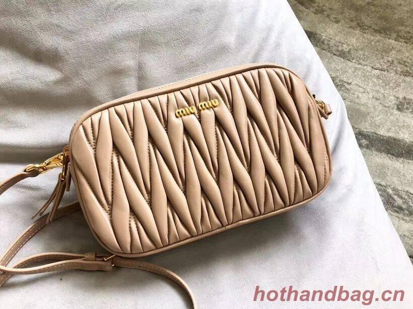 miu miu Matelasse Nappa Leather Shoulder Bag 5BH539A Apricot
