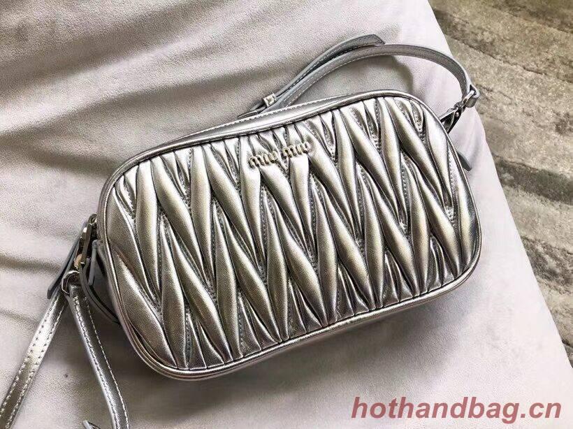 miu miu Matelasse Nappa Leather Shoulder Bag 5BH539A Silver