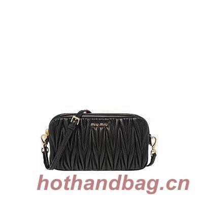miu miu Matelasse Nappa Leather Shoulder Bag 5BH539A black