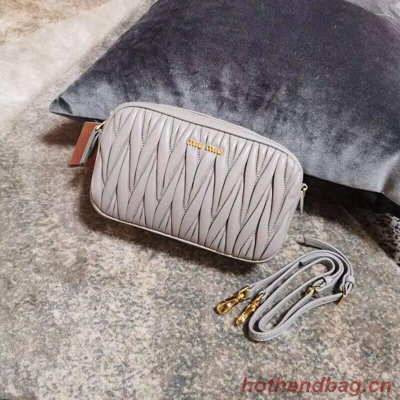 miu miu Matelasse Nappa Leather Shoulder Bag 5BH539A grey