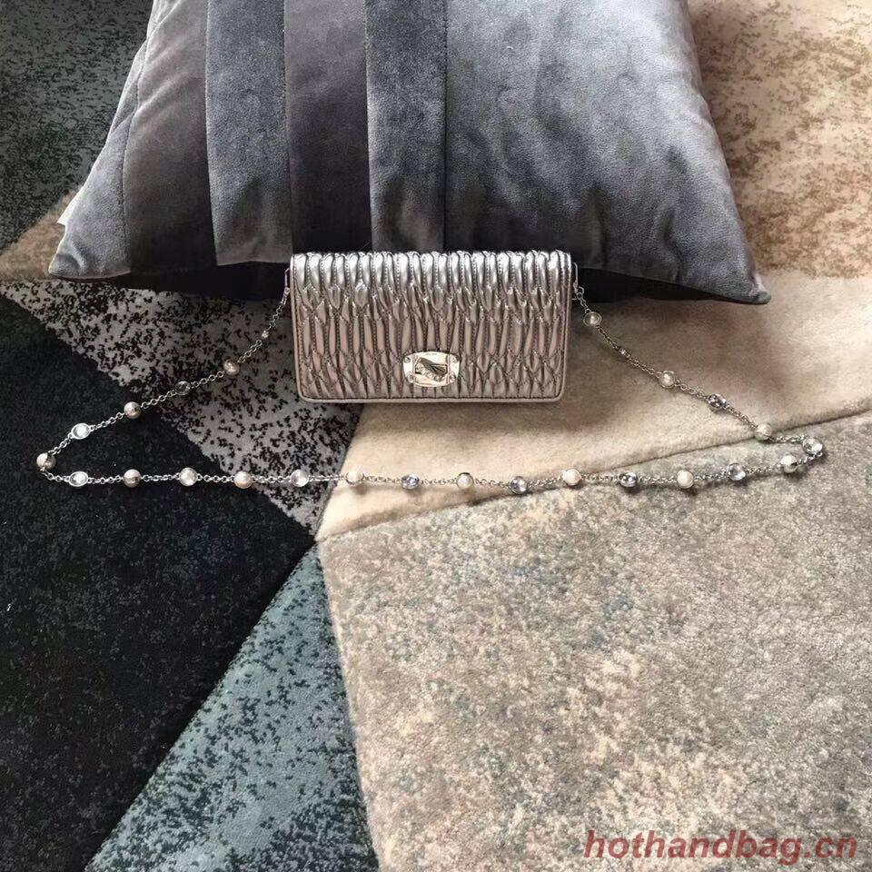 miu miu Matelasse Nappa Leather Shoulder Bag 5DH044A Silver