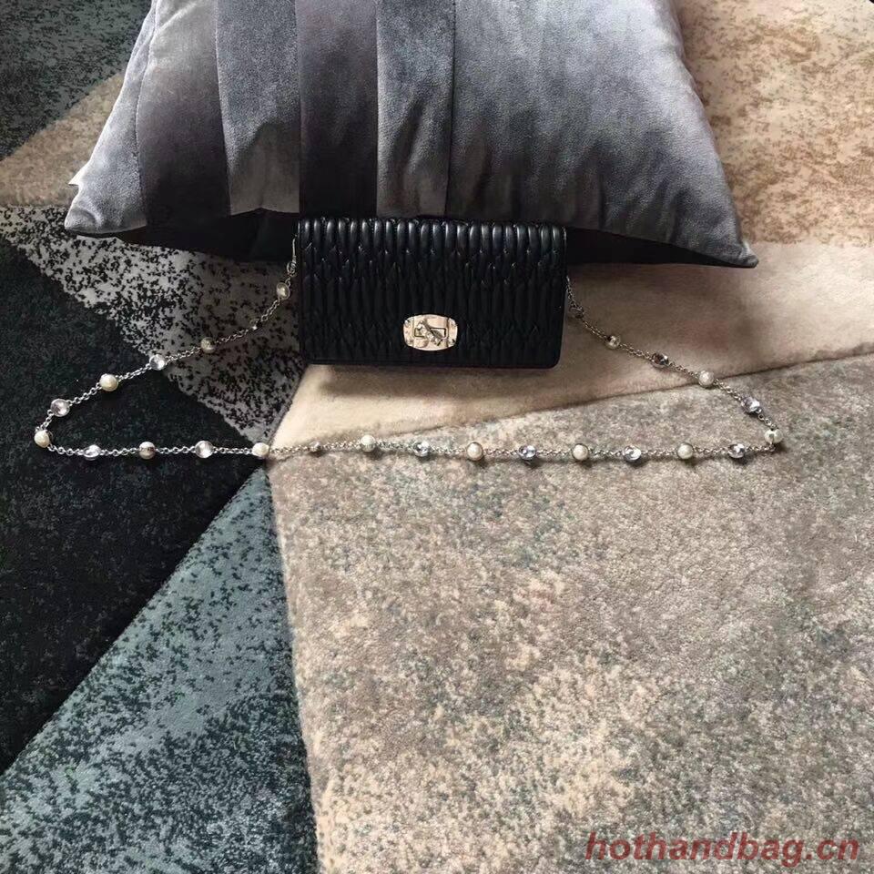 miu miu Matelasse Nappa Leather Shoulder Bag 5DH044A black