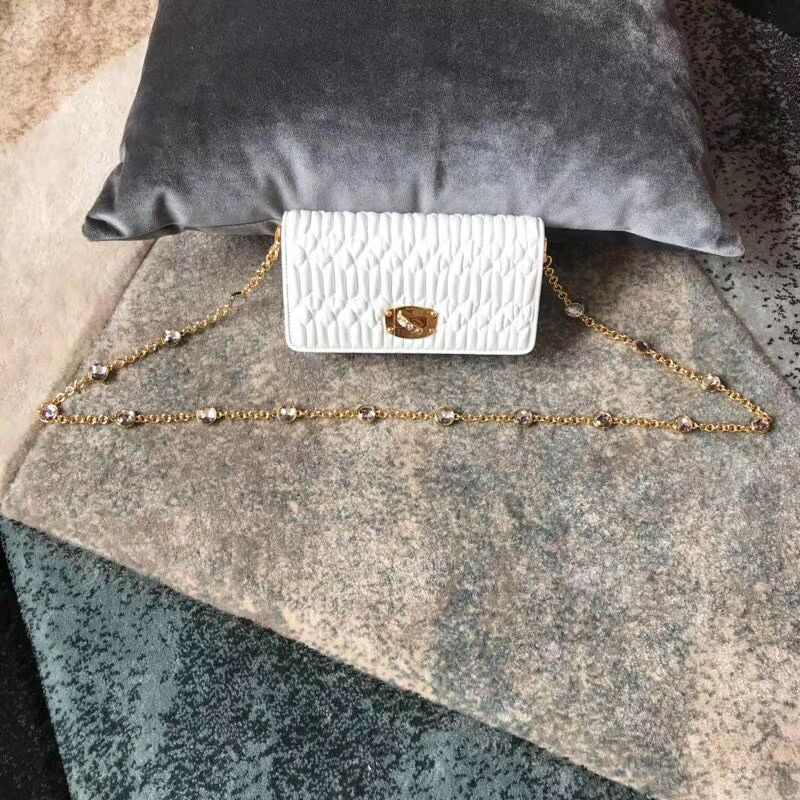 miu miu Matelasse Nappa Leather Shoulder Bag 5DH044A white