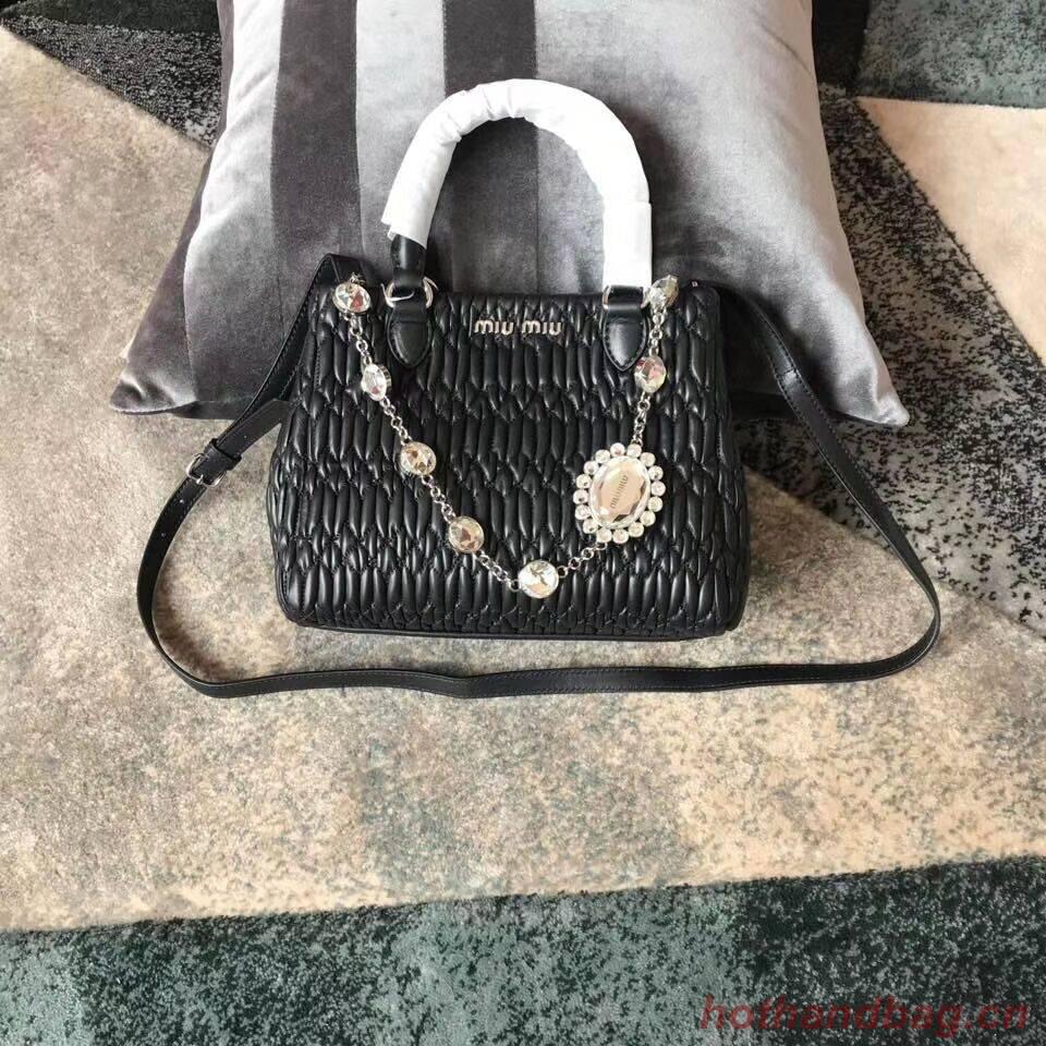 miu miu Matelasse Nappa Leather shoulder bag 5BA067 black