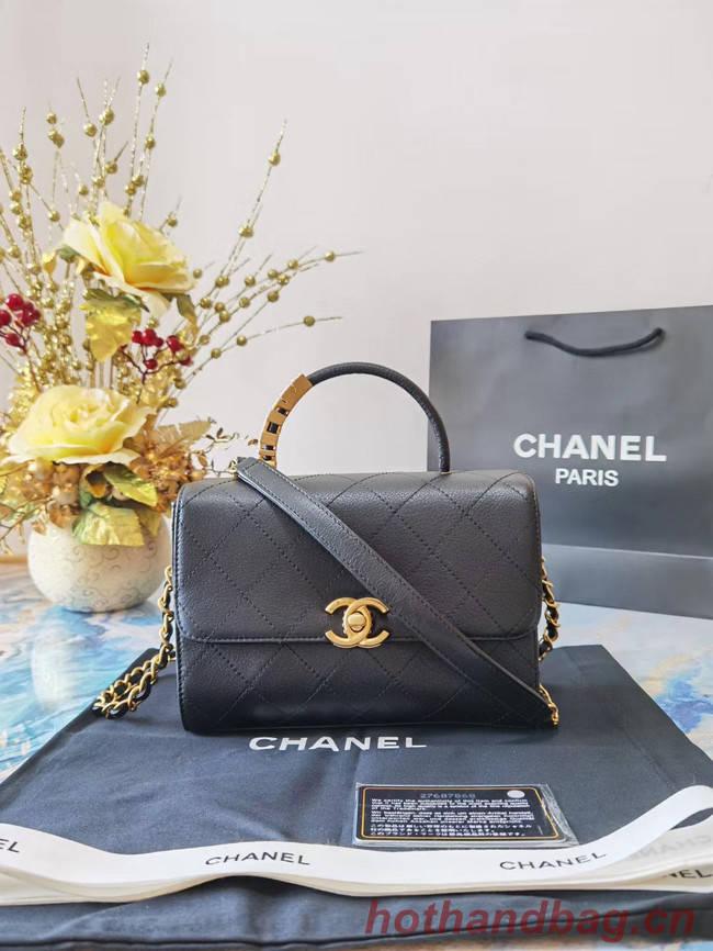Chanel small tote bag Sheepskin & Gold-Tone Metal AS2059 black