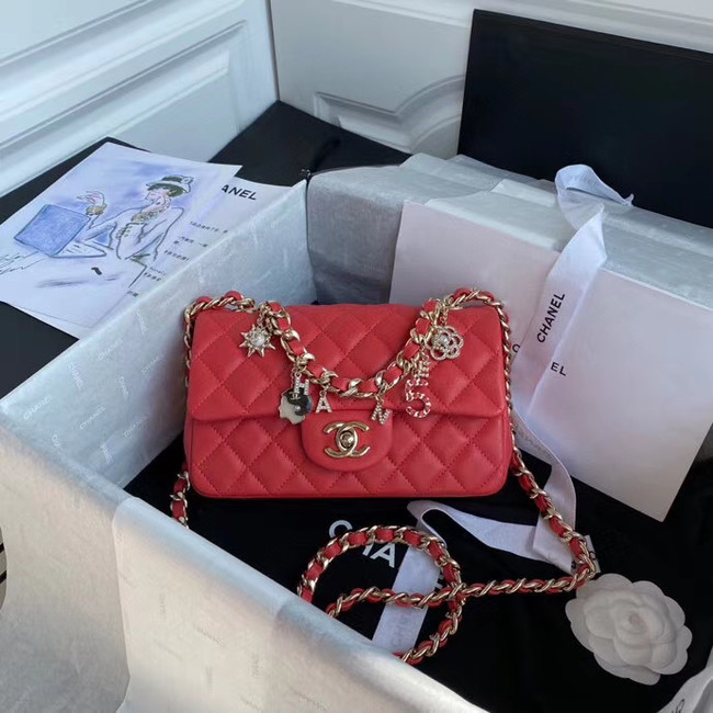 Chanel flap bag Lambskin & Gold-Tone Metal AS2326 red