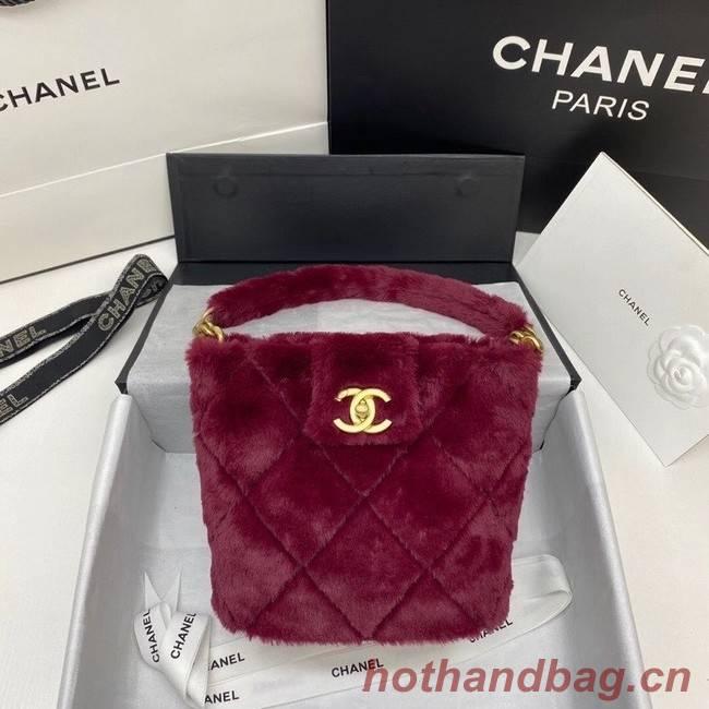 Chanel flap bag Shearling Lambskin & Gold-Tone Metal AS2241 Burgundy