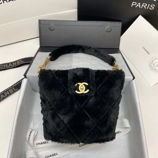 Chanel flap bag Shearling Lambskin & Gold-Tone Metal AS2241 black