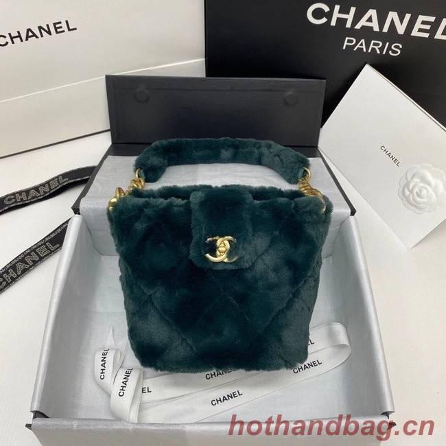 Chanel flap bag Shearling Lambskin & Gold-Tone Metal AS2241 green