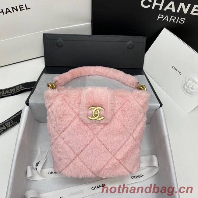 Chanel flap bag Shearling Lambskin & Gold-Tone Metal AS2241 pink