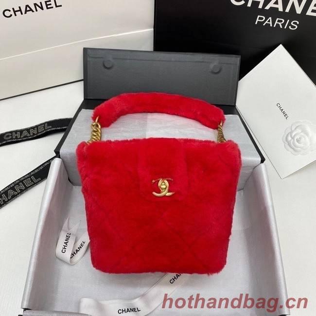 Chanel flap bag Shearling Lambskin & Gold-Tone Metal AS2241 red
