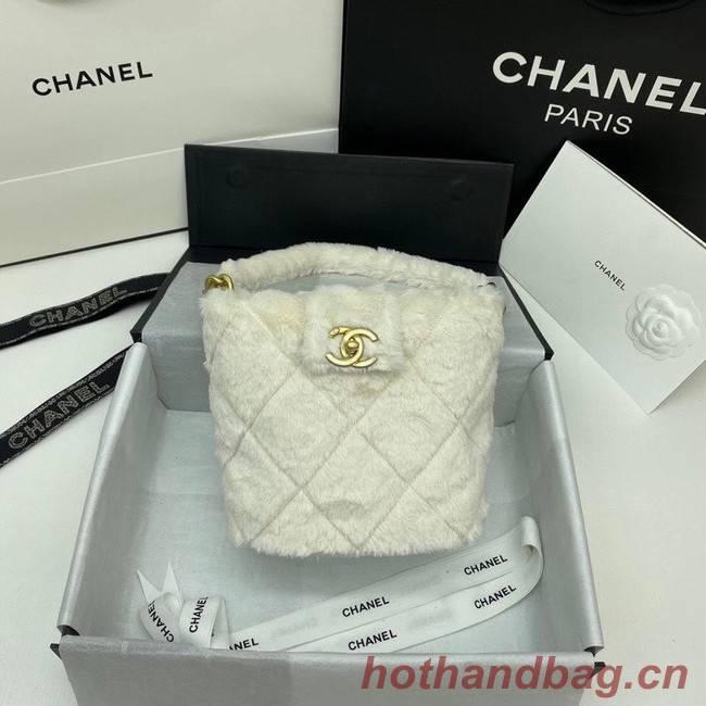 Chanel flap bag Shearling Lambskin & Gold-Tone Metal AS2241 white