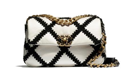chanel 19 flap bag AS1160 White & Black