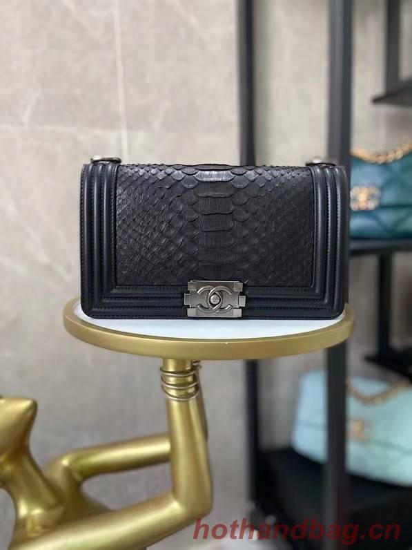 Boy Chanel Flap Shoulder Bag original Snake leather AS67086 black & Silver-Tone Metal
