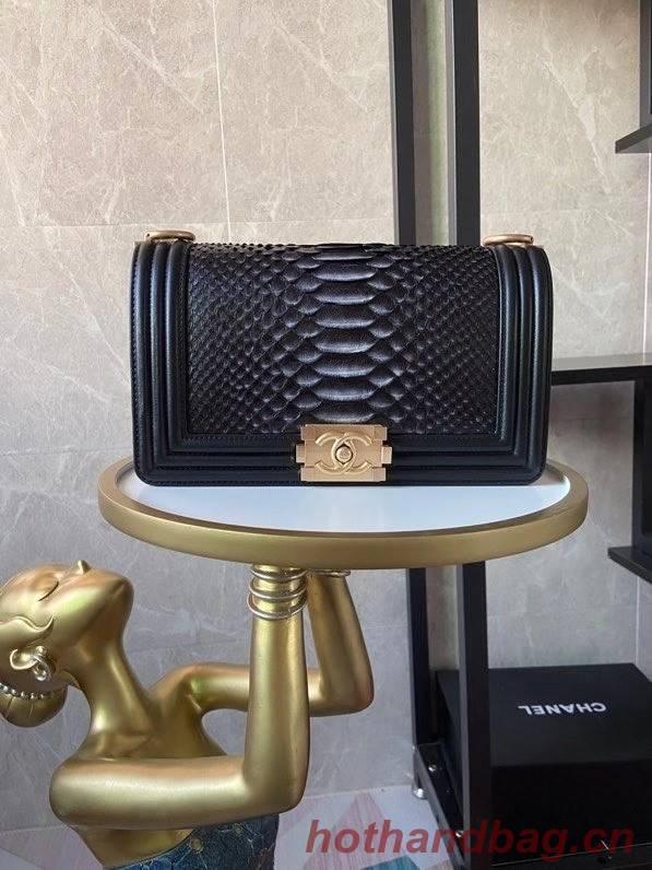 Boy Chanel Flap Shoulder Bag original Snake leather AS67086 black&grey