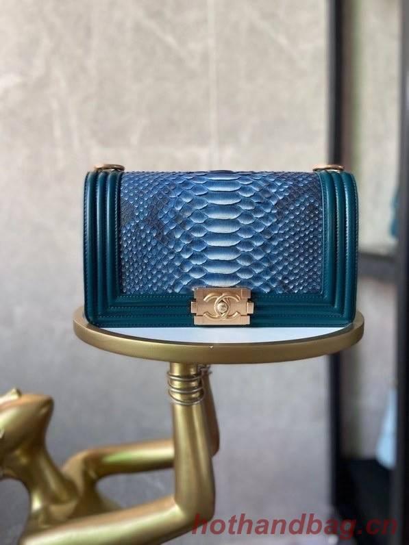 Boy Chanel Flap Shoulder Bag original Snake leather AS67086 blue