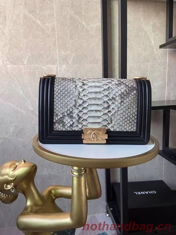 Boy Chanel Flap Shoulder Bag original Snake leather AS67086 grey