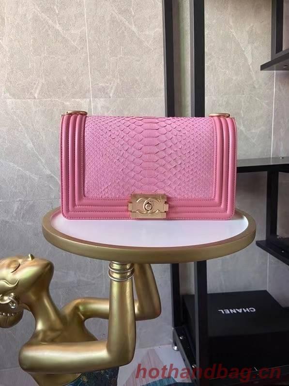 Boy Chanel Flap Shoulder Bag original Snake leather AS67086 pink