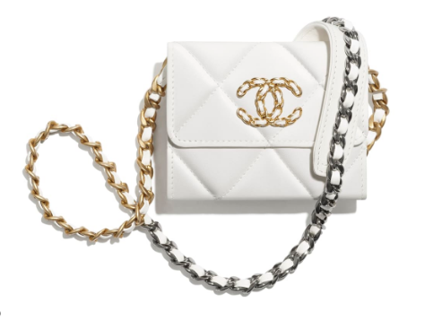 chanel 19 flap coin purse with chain AP1787 white