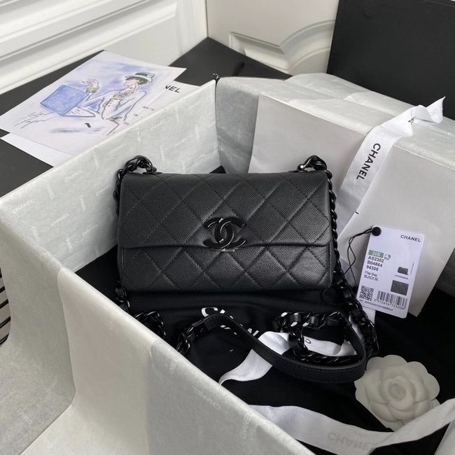 Chanel flap bag Grained Calfskin & Lacquered Metal AS2302 black