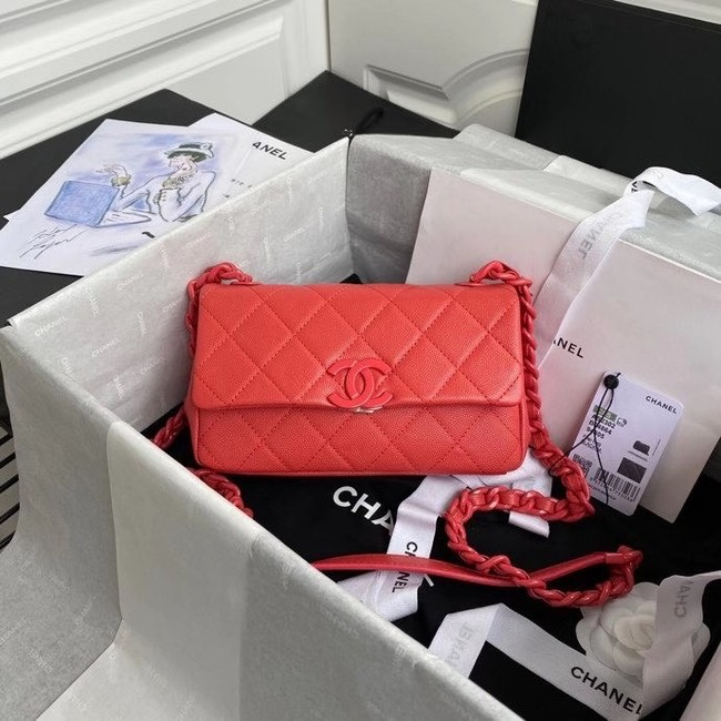 Chanel flap bag Grained Calfskin & Lacquered Metal AS2302 red