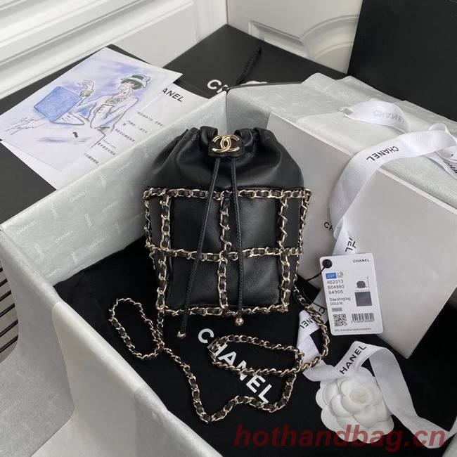 Chanel small drawstring bag Lambskin & Gold Metal AS2313 black