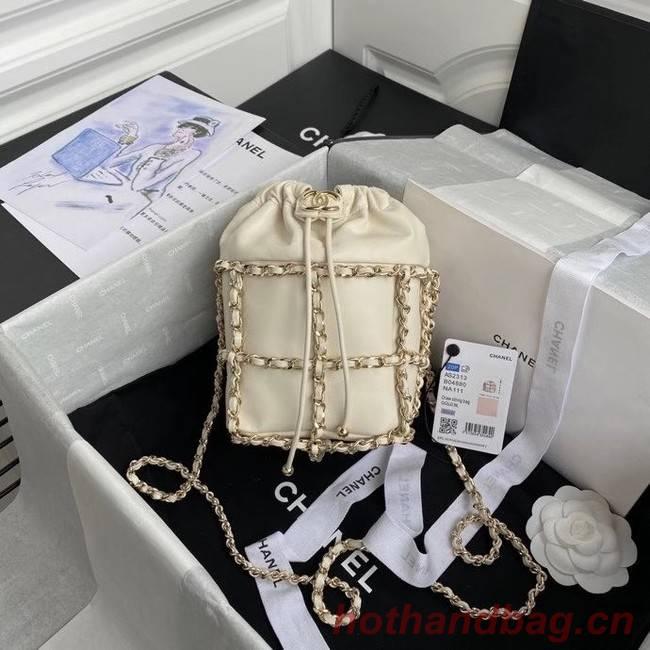 Chanel small drawstring bag Lambskin & Gold Metal AS2313 white