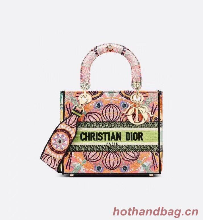 DIOR MEDIUM LADY D-LITE BAG Multicolor Tie & Dior Embroidery M0565OJb